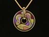 Комплект украшений: кулон-подвеска с эмалью и серьги золотого цвета арт.126